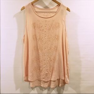 Lucky Brand | Blush Pink Embroidered Tank Plus Sz